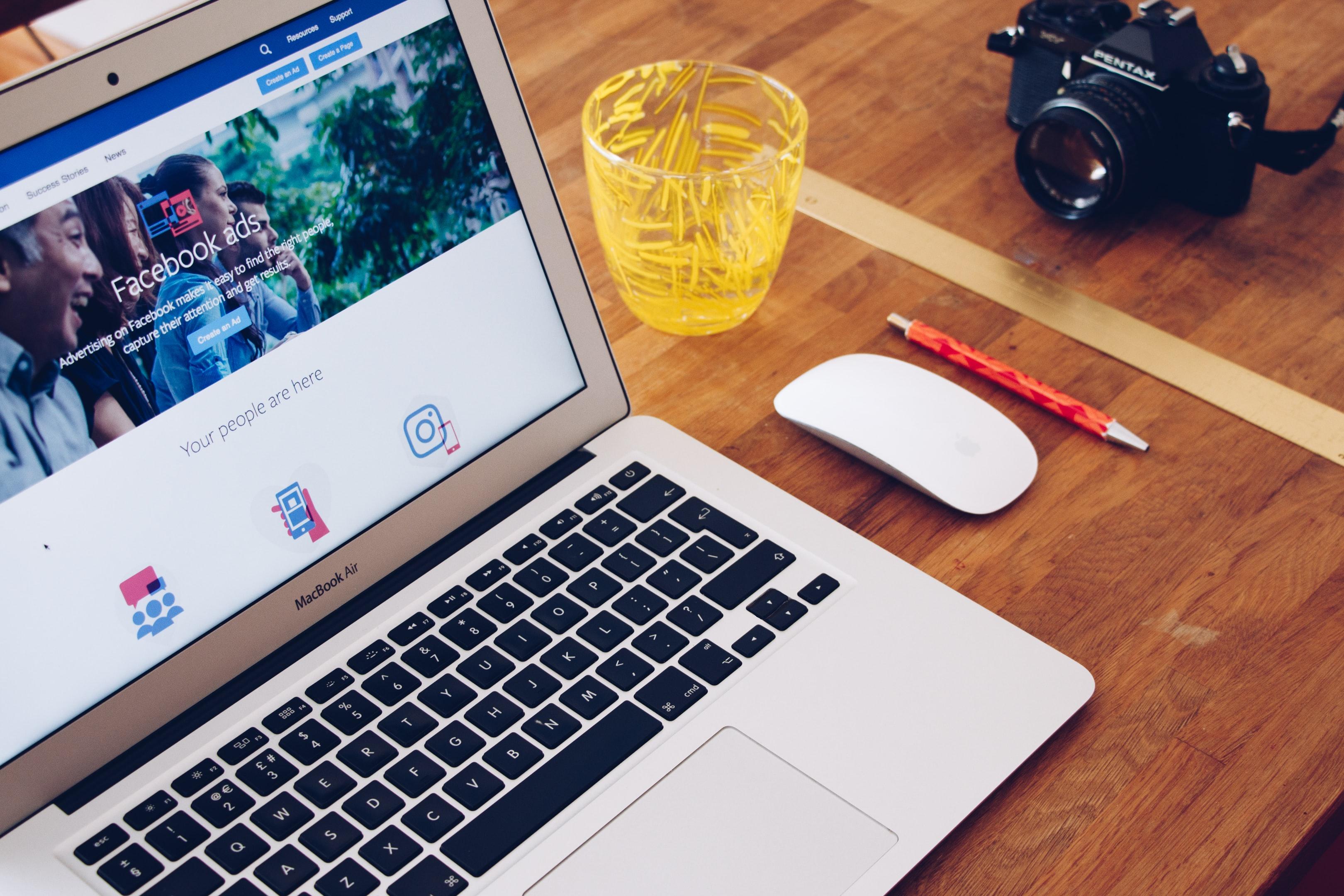 Facebook ads on a laptop